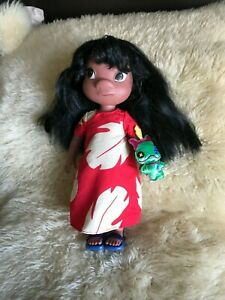 "DISNEY STORE LARGE LILO ANIMATOR DOLL 16"" LILO & STITCH WITH TOY PET & SANDALS"