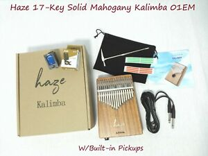 Haze 17-Key Solid Mahogany Kalimba MBIRA Thumb Piano+Pickup,Tutorial Manual 01EM