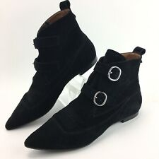 All Saints Viv Black Suede Pointed Toe Two Buckle Ankle Boots Size 39 ~ US 8