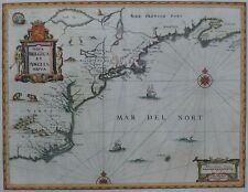 JANSSON MAP 1647 VIRGINIA NY NEW ENGLAND, NOVA BELGICA ET ANGLIA