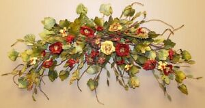 """New Dried Look Artificial RED YELLOW POPPY FLOWER SWAG Wreath Arch Floral 27"""""""