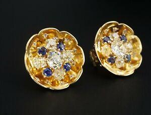 Bespoke Van Cleef & Arpels VCA 18k Gold 9 carat Diamond Sapphire Earrings CO645