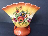 Vintage Ruffled Ceramic Fan Vase Colorful Floral Design