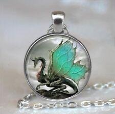 Jade-Winged Dragon necklace, Dragon jewelry dragon jewellery dragon wing(Silver)