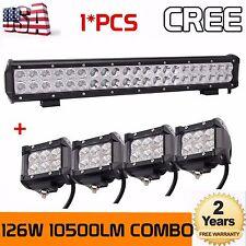 126W 20 inch CREE LED Light Bar Combo Beam Work Offroad Truck+4x18W Flood Lights