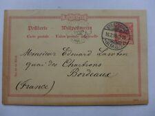 ENTIER POSTAL  1895   STRASBOURG  BORDEAUX   carte postale