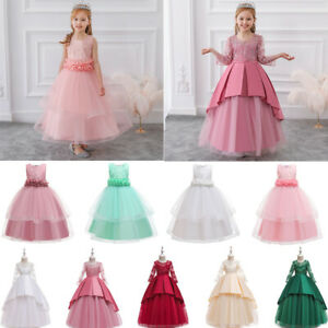 Girls Dresses Party Flower Kids Bridesmaid Wedding Princess Gown Pageant Toddler