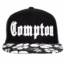 Black Compton Floral Brim Vintage Embroidered Hip Hop Flat Bill Snapback Cap Hat
