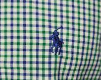 Polo Ralph Lauren Mens Button Up Dress Shirt Medium Green Blue White Check