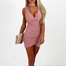 Damen V-Ausschnitt  Ärmellos Kleider Bodycon Minikleid Partykleid Sommerkleid