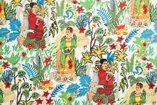 Indio Hecho a Mano Frida Kahlo Estampado Tela Algodón Confección Blanco Costura