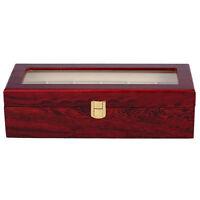 6 Wood Watch Display Case Box Glass Top Jewelry Storage Organizer Gift Men BT