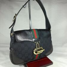Authentic Vintage Gucci Jackie Black GG Canvas Small Hobo Shoulder Handbag Purse
