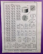 Jeux de Cartes Magie 1792 Illusion Rare Gravure ancienne Magicien Magie Blanche