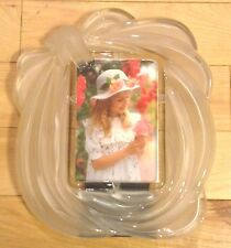 """10"""" X 9"""" HEAVY Cut Glass Frame for 4"""" X 6"""" Photograph-  Unknown Manufacturer-"""