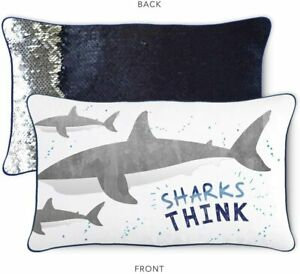 Sharks Think Kids Throw Pillow Reversible Nautical Navy & Silver Color Changing