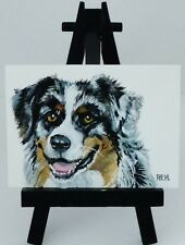 ACEO ORIGINAL PAINTING AUSTRALIAN SHEPHERD DOG BY REM