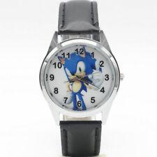 Sonic The Hedgehog SEGA Gamer Geek Nerd Leather Analog Quartz Wrist Watch Black