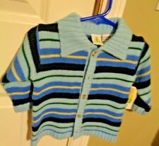 Sesame Street New Born Boys 6 / 9 Month Boy's Blue Strips Sweater New with Tag