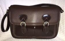RENOUARD Plancoet Brown Leather Flap Magnetic Shoulder Bag Purse Handbag-NICE