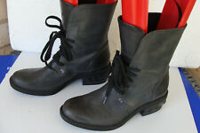 CALVIN KLEIN Jeans GWEN Military Combat Studded Boots Grey Leather Sz 6.5 ~Laces