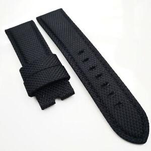 22mm Black Canvas Genuine Leather Black Stitch PAM Strap for RADIOMIR LUMINOR