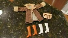 Vintage Barbie Doll Tan Brown Coat Jacket Fury Cuffs Purse 2 Sets Boots Lot
