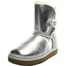 Ugg Australia Bailey Button Metallic Youth US 2 Silver Winter Boot