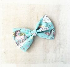 Joli bleu pastel Licorne Arc-en-ciel Cloud Clip Nœud Cheveux kawaii pin up