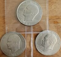 3 Different Eisenhower **** Ike Dollars **** Check It Out!  #AA062-1