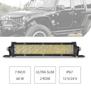 7inch Slim 60W LED Work Light Bar Dual Row Combo Spot Flood Truck Offroad ATV