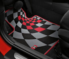 Mini Cooper JCW F56 Floor Mats Carpet Checker Red 2014-2017 Set Of 4 OEM