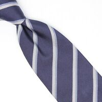 Gladson Mens Silk Necktie Navy Light Blue Repp Stripe Weave Woven Tie Italy