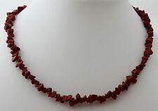 Rojo jaspe Cadena de piedras preciosas ca.45cm LARGOS CIERRE MOSQUETÓN picado