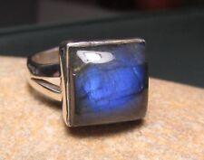 925 sterling silver square labradorite ring UK N¾-O/US 7.25-7.5. Gift bag