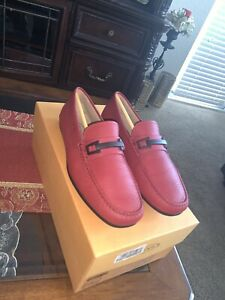 TOD'S Tods New sz UK 7 - US 8 Designer Mens Drivers Loafers Shoes RED