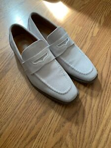STACY ADAMS Mens Off White Suede Penny Loafers Size: 8D