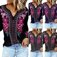 Women Boho Floral Long Sleeve Loose Tops Ladies Hippie Gypsy Tunic Blouse Shirt
