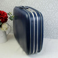 Vintage 1960's Crown Hard Shell Suitcase in Navy Blue. Lovely Retro Item.