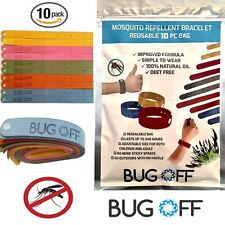 BUG OFF Mosquito Repellant Wrist Band Family 10-Pack - *Natural SAFE Deterrent*