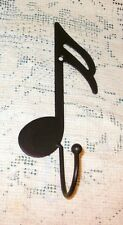 NEW~Black Iron Musical Sixteenth Note Wall Hook Coat Hat Music Hanger Towel