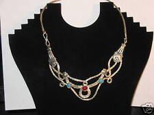 Tibetan Silver,Turquoise,Red Coral Hand Made Necklace