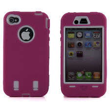 Apple iPhone 4 4S Hot Pink & White Body Armor Defender Hard Plastic Case Cover
