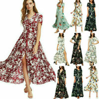 Sexy Floral Long Maxi Boho Women Dress Summer 3/4 Sleeve Holiday Beach Sundress