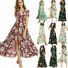 Sexy Floral Long Maxi Boho Women Dress Summer 3/4 Sleeve Holiday Beach Sundress