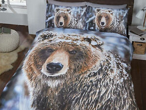 Amazing Snow Big Bear Photo Print Bedding Set Duvet Cover Single Double King