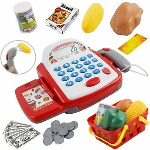 Kids Electronic Cash Register Toy Working Scan Till Play Food Shopping Basket