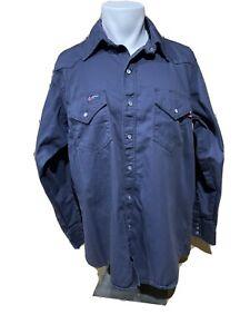 Lapco FR Fire Resistant Mens Shirt Large Navy Blue Snap Button