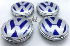 4 Wheel Center Caps 1J0601171 (55MM) Fits VW Golf Jetta Passat (Blue & Silver)