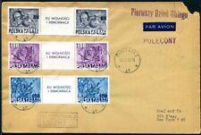 POLEN 1948 515-517ZWS auf FLUGPPOSTBRIEF FDC in die USA (S7939